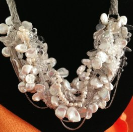 Coin pearls are mixed with clear crystals and beads for this striking necklace. (Courtesy Shanghai Roots)