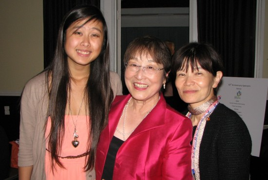 Faustine Chow, 2007 trio student; Yoko Pusavat, LBYSCA vice president and 50th anniversary delegate; and Harumi Kobayashi, manager of the City of Yokkaichi Cultural and International Division.