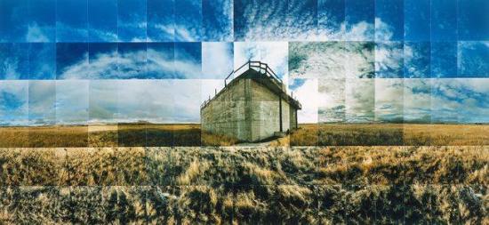 "Tule Lake Relocation Camp, Sewer, Tulelake, California by Masumi Hayashi.  From ""Masumi Hayashi Retrospective Exhibit"" (2003), curated by Karin Higa — at Japanese American National Museum."