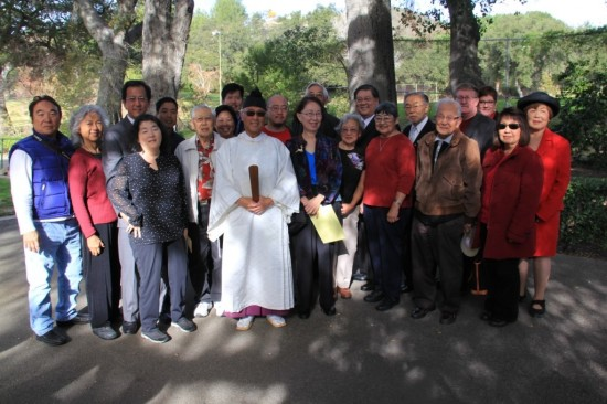 Ceremony participants at the oak grove marking the site of the Tuna Canyon Detention Station.
