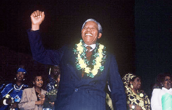 This photo of Nelson Mandela was taken by Mike Murase during the national conference of the ANC in 1991, the first conference to be held after Mandela's release from prison.