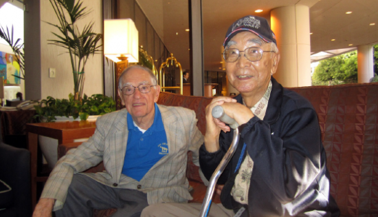 For the first time in 70 years, Don Chikara Oka (right) met Donald Keene in Los Angeles at a hotel near the airport. They both served in the JICOPA (Joint Intelligence Center of Pacific Ocean Area) in Hawaii. (Photo courtesy of Ted Oka)