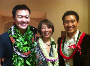 """Joel de la Fuente, Jeanne Sakata and Daniel Dae Kim during the Hawaii performances of """"Hold These Truths."""" Among those who attended were Gov. Neil Abercrombie and Rep. Tulsi Gabbard."""