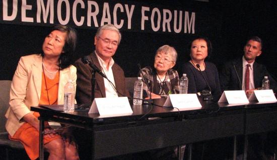Panelists at the Feb. 22 screening were (from left) Shirley Ann Higuchi, Darrell Kunitomi, Toshi Ito, Patti Hirahara, and Dr. Greg Kimura.
