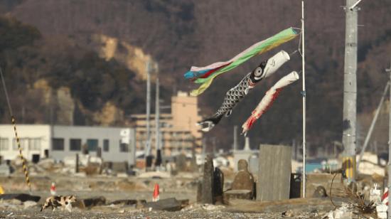 Koinobori (carp banners) amid the devastation in the Tohoku region.