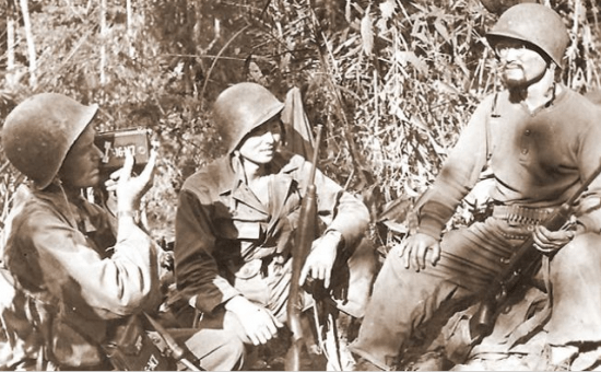 Roy Matsumoto (right), pictured while serving in Asia during World War II, was inducted into the Ranger Hall of Fame.