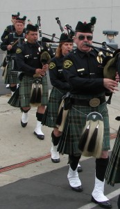 Members of the Los Angeles Police Emerald Society Pipes and Drums.