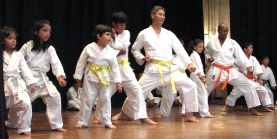 Demonstrations of karate (above), judo (below left) and aikido/iaido (below right) were given.