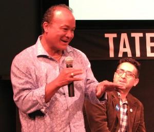 Darryl Vidal, creator of the movie's crane kick, and moderator Chad Cowan.