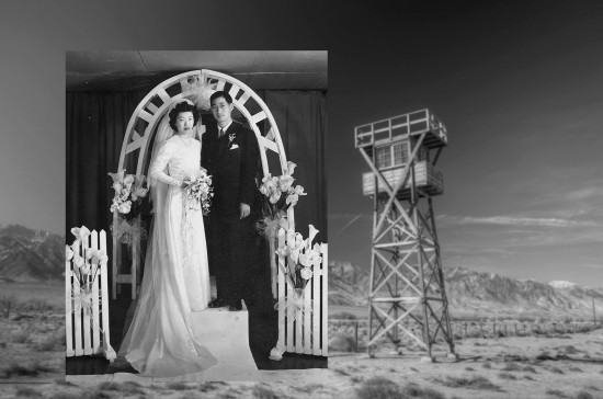 Photo of wedding dress next to the guard tower and barbed wire fence at Manzanar (Credits:  Kevin Kuromi, Pixel Graphic Design & Steve Nagano)