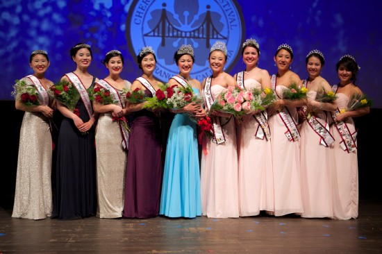 2014 and 2013 courts at last year's Northern California Cherry Blossom Queen Program.