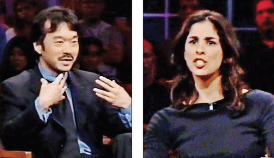 """Guy Aoki and Sarah Silverman debated in a 2001 episode of Bill Maher's """"Politically Incorrect."""""""