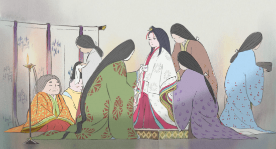 """A woodcutter discovers a tiny princess in a bamboo stalk in """"The Tale of Princess Kaguya."""" Kaguya-Hime grows rapidly into a beautiful young woman in """"The Tale of Princess Kaguya."""" Photo credit: © 2013 Hatake Jimusho – GNDHDDTK"""