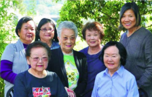 """Editor Genny Lim (right) with the authors of """"From Both Shores."""""""
