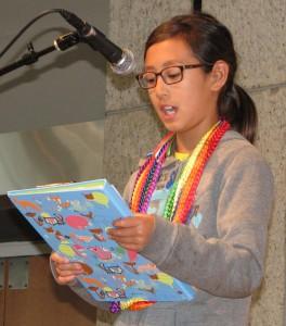Fourth-grader Maiya Grace Kuida-Osumi read two of her stories.