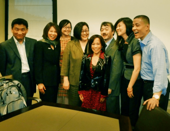 MANAA and other Asian American advocacy groups attended an NBC quarterly meeting in 2012. Sumi Haru is in the center and Craig Robinson, NBC executive vice president of diversity, is on the right.