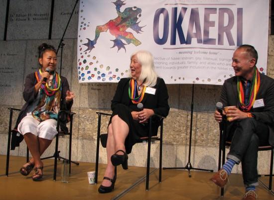 From left: Panelists Marie Morohoshi and Mia Yamamoto with moderator Gary Hayashi.