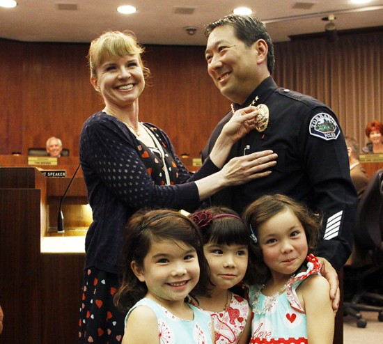 Accompanied by his family, Mark Matsuda was sworn in as police chief of Torrance.
