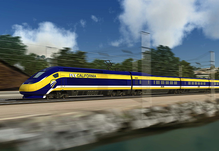 ロサンゼルスとサンフランシスコ間およそ520マイルを約3時間で結ぶ、加州高速鉄道のイメージ図