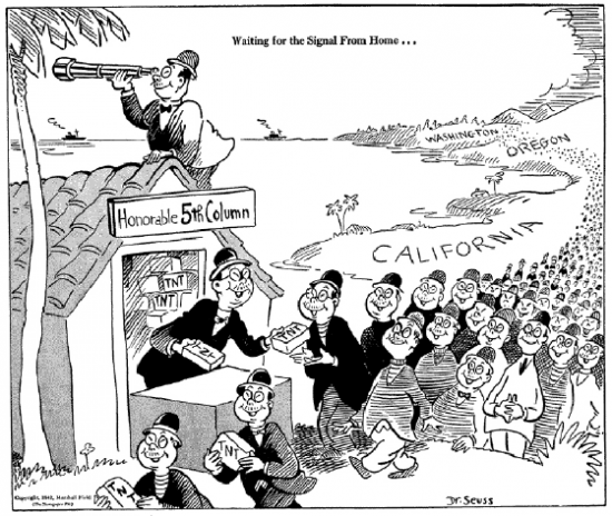 Japanese are depicted invading California in a cartoon by Dr. Seuss published on Feb. 13, 1942.