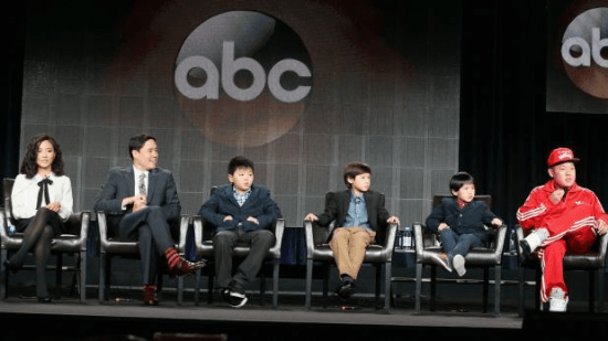 """Eddie Huang and the cast of """"Fresh Off the Boat"""" at the Television Critics Association event."""
