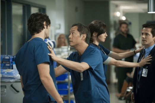 """Ken Leung (center) in a scene from """"The Night Shift."""""""