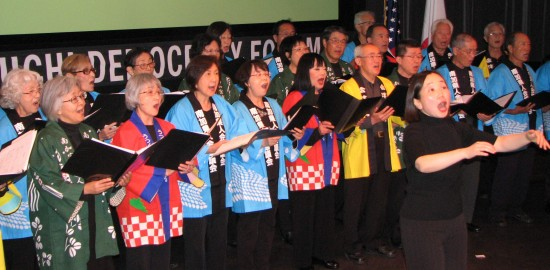 """The Nikkei Choral Federation of Southern California sang """"Hana wa Saku"""" and """"Soran Bushi."""""""
