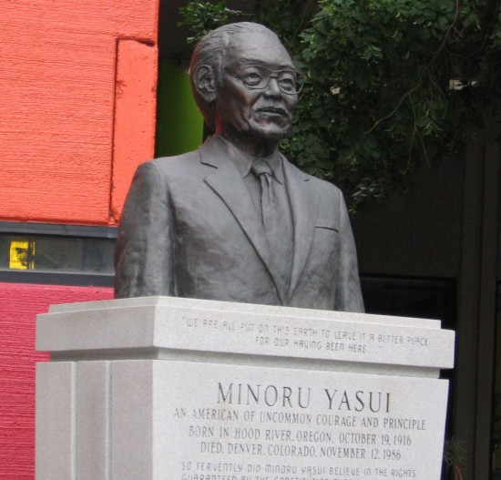 This 2008 photo shows a bust of Minoru Yasui that stands in Denver's Sakura Square. (Photo by J.K. Yamamoto)