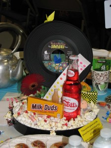 The centerpieces had a '60s-'70s theme.