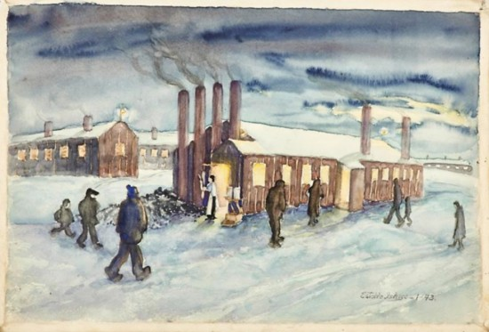 A watercolor of life at Heart Mountain during the winter by Estelle Ishigo, 1943. (From the collection of Eaton)