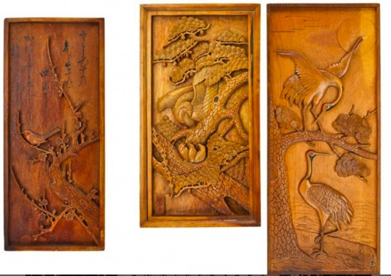 Hand-carved panels from the Amache camp in Colorado. (From the collection of Allen H. Eaton)