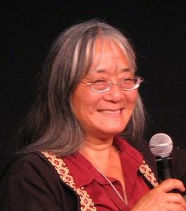 Holly Yasui speaking last year at the Japanese American National Museum. (J.K. YAMAMOTO/Rafu Shimpo)