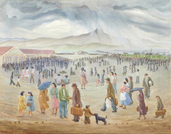 """A painting by Estelle Peck Ishigo from the collection of Allen H. Eaton. """"Disloyal"""" Japanese Americans leave Heart Mountain, Wyo. for Tule Lake Segregation Center in California on Sept. 21, 1943."""