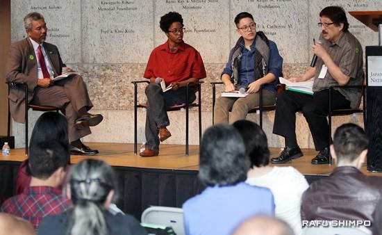From left: Moderator Curtiss Takada Rooks and panelists Povi-Tamu Bryant, Rey Fukuda and Mike Murase.