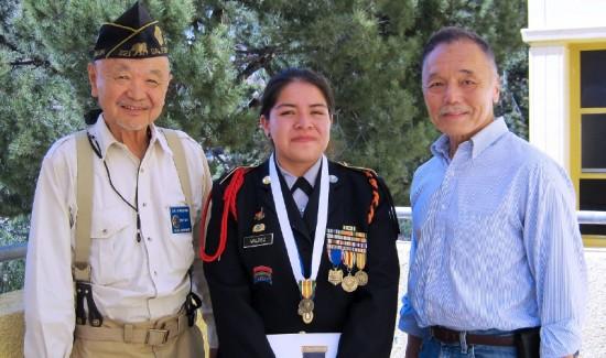 From left: Sadao Munemori Post 321 Adjutant Carl Miyagishima, Kimberly Valdez, Post 321 First Vice Commander Keith Kawamoto.