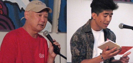 Sansei Stories leader Tim Toyama; spoken-word artist Nakashita.