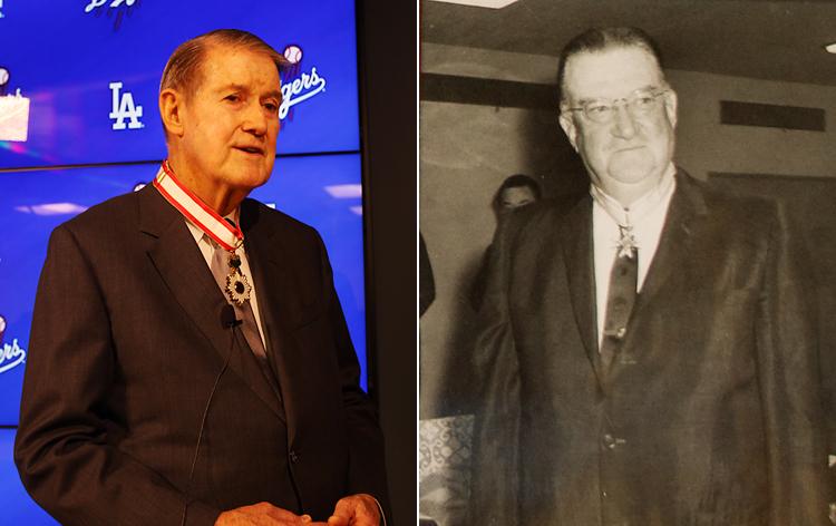 【写真左】今春の叙勲で旭日中綬章を受章したピーター氏【同右】1966年に勲三等瑞宝章を受章した当時のウォルター氏