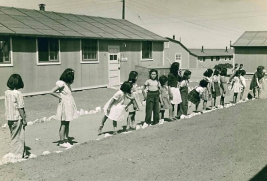 The Allen Eaton Collection includes several photographs of daily life in the internment camps.