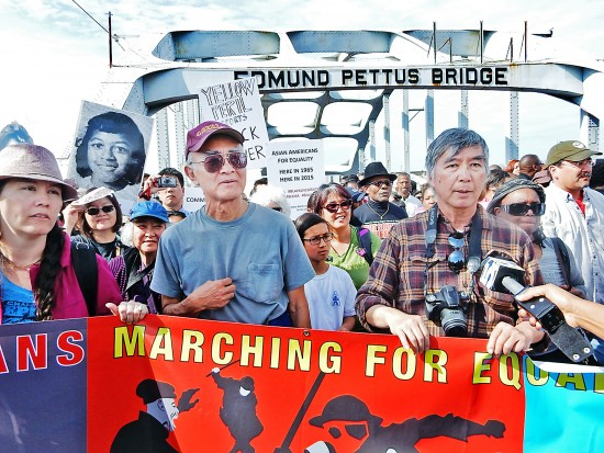About 40 activists from across the country, calling themselves Asian Americans Marching for Equality and Justice, were led by two marchers who took part in the 1965 marches, Todd Endo (wearing cap) and Vincent Wu. (Photo by Mike Murase)