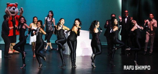 """The Nisei Week Court performed a modern dance number, """"75 Years Strong,"""" which paid tribute to the 75th anniversary of Nisei Week."""