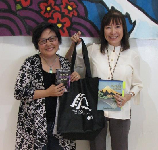 Naomi Hirahara and Amy Uyematsu gave a joint reading in May at the Gardena Valley Japanese Cultural Institute. (J.K. YAMAMOTO/Rafu Shimpo)