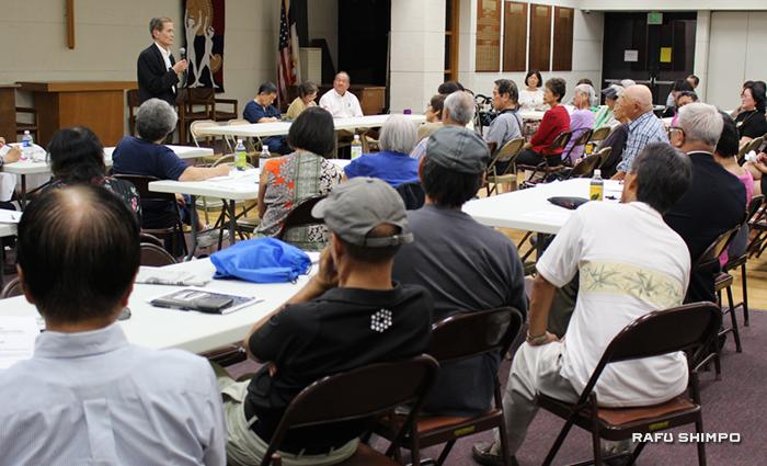 敬老の売却問題について話しあうため、およそ150人が参加した初めてのコミュニティー集会