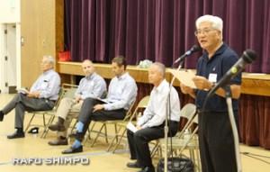 参加者に売却のことを説明するボードのゲリー川口氏(右から)、CEOのショーン三宅氏、パシフィカ社のタイラー・ベルディク氏、アスペン社のライアン・ケース氏、ボードのアーニー・ドイザキ氏