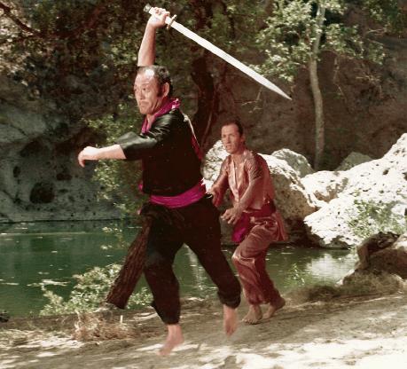 """Bill Saito and David Carradine in scene from """"Kung Fu."""""""