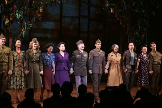 """The cast of """"Allegiance,"""" including Lea Salonga (fourth from left), George Takei and Telly Leung, takes a curtain call."""