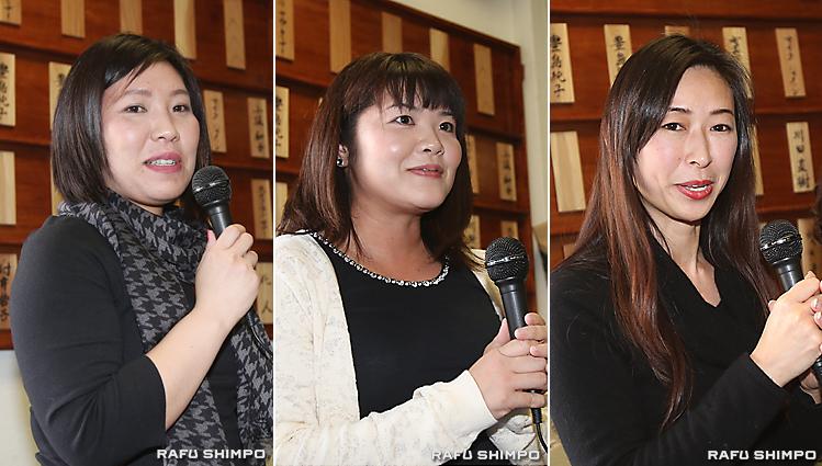 自己紹介をする新人3人。左から国行由美子さん、市澤瑶子さん、民子キャロウェイさん