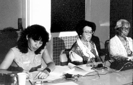 Yasuko Sakamoto serving as an interpreter in 1984.