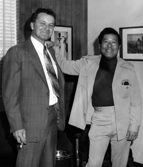 Jerry Enomoto (right) became the fourth director of the state prison system. He is pictured with P.J. Morris, deputy director of institutions. (California Department of Corrections)