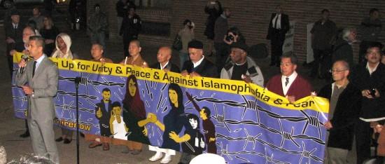 JANM President and CEO Greg Kimura and interfaith leaders spoke at an anti-Islamophobia rally in Little Tokyo last month. (J.K. YAMAMOTO/Rafu Shimpo)