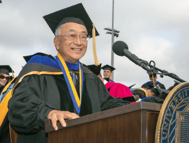 Paul Terasaki accepts the UCLA Medal, the university's highest honor, at the UCLA College of Letters and Science commencement ceremony on June 15, 2012.